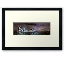 Riga Night lights panorama, Riga Latvia Framed Print