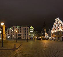 BLACKHEADS HOUSE PANORAMA AT NIGHT, RIGA, LATVIA by paulsrphoto