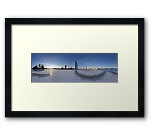 IN THE MIDDLE OF THE FROZEN RIVER - PANORAMA, RIGA LATVIA Framed Print