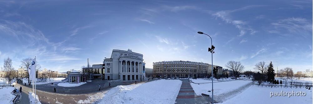 Latvian National Opera panorama in winter, Riga, Latvia by paulsrphoto