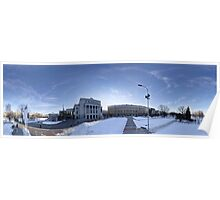 Latvian National Opera panorama in winter, Riga, Latvia Poster