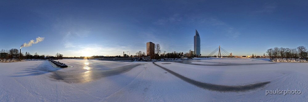 IN THE MIDDLE OF THE FROZEN RIVER - PANORAMA, RIGA LATVIA by paulsrphoto