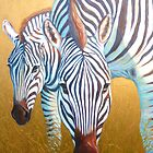 golden zebras by Gill Bustamante