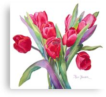 Springtime Red Tulips! Canvas Print
