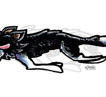 Border Collie in Action by offleashart