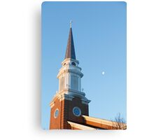 Early Morning Steeple with Moon Canvas Print
