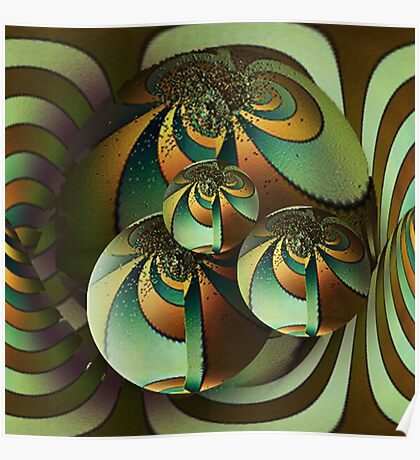 Fractal glowing globes Poster