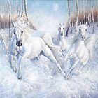 galloping white horses in the snow by Gill Bustamante