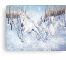 galloping white horses in the snow Canvas Print