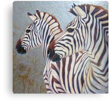 silver zebras Canvas Print