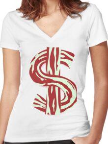 Bacon Bucks Women's Fitted V-Neck T-Shirt