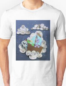 Owl and Pussycat on clouds. Paper Art. Unisex T-Shirt