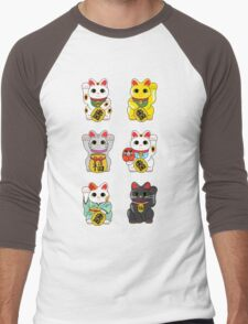 Lucky Cat / Maneki Neko Men's Baseball ¾ T-Shirt