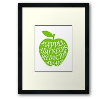 green apple with word art Framed Print