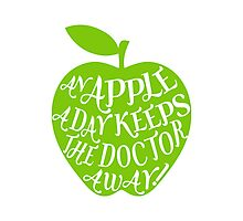 green apple with word art Photographic Print