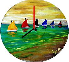 Boats In A Row by WhiteDove Studio kj gordon