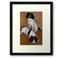 Benson and Jess waiting to go out Framed Print