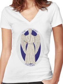 The angel's got the screwdriver! Women's Fitted V-Neck T-Shirt