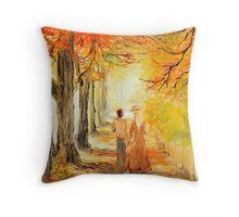 auttum walk romance Throw Pillow