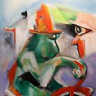 Green Monkey On Red Tricycle by Reynaldo