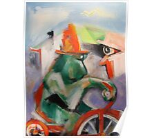 Green Monkey On Red Tricycle Poster
