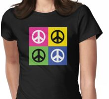 """Peace """" Multicolored Peace Signs """" Womens Fitted T-Shirt"""