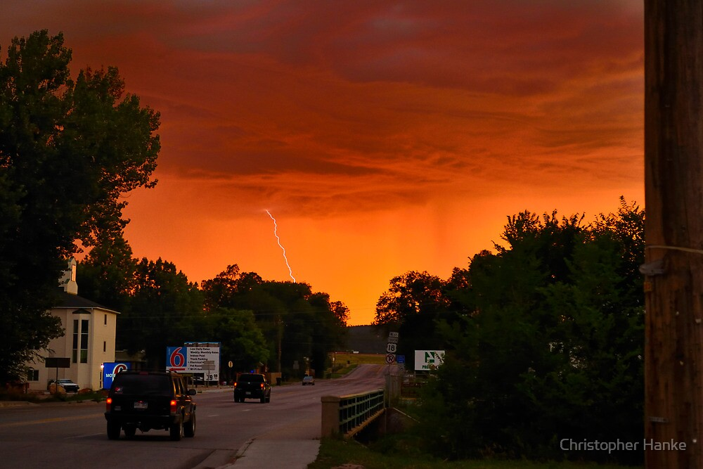 sunset with lightning 2 by Christopher Hanke