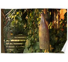 Old bottle in sunset Poster