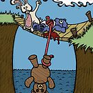 Teddy Bear And Bunny - Bungee Jump by Brett Gilbert