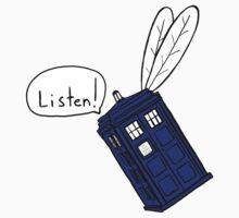 Flying Phone Box - N.A.V.I. - Sticker by ClockworkRobot