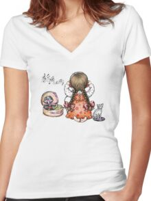 retro records Women's Fitted V-Neck T-Shirt