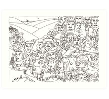 Peoplescape drawing Art Print