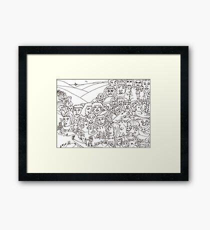 Peoplescape drawing Framed Print