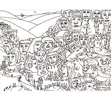 Peoplescape drawing Photographic Print