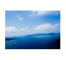 Cruiser in Santorini, Greece Art Print