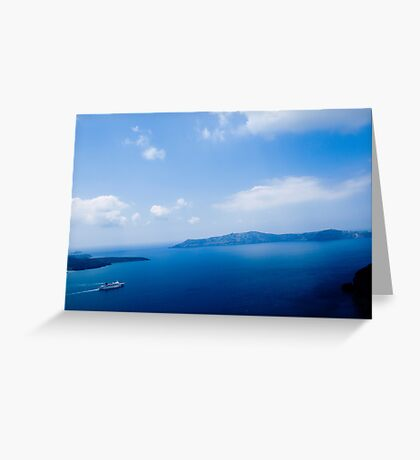 Cruiser in Santorini, Greece VRS2 Greeting Card