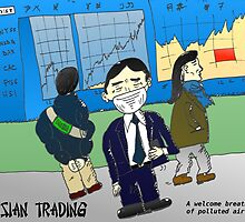 Air pollution and Asian markets cartoon by Binary-Options