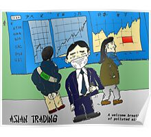 Air pollution and Asian markets cartoon Poster