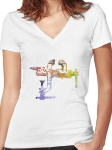 Industrial Clamps Women's Fitted V-Neck T-Shirt