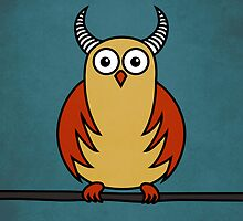 Funny Cartoon Horned Owl  by Boriana Giormova