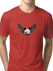 Action Wings Flying Polygonal Panda Power Tri-blend T-Shirt