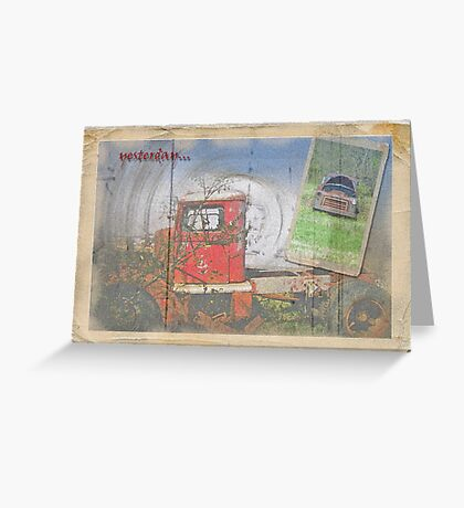 Antique Postcard of Anique Trucks Greeting Card
