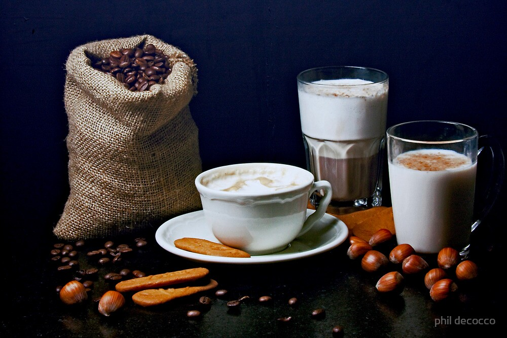 Latte, Capuccino, and Biscuits by phil decocco