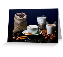 Latte, Capuccino, and Biscuits Greeting Card
