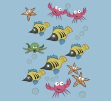 Cute fish, starfish and crabs Tee by walstraasart