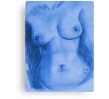 Nude Female Torso - PPSFN-0002-in Blue Canvas Print