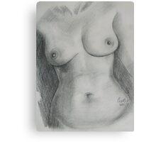 Nude Female Torso - PPSFN-0002-Graphite Canvas Print