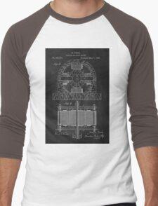 Tesla Coil Patent Art Men's Baseball ¾ T-Shirt
