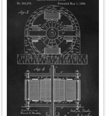 Tesla Coil Patent Art Sticker