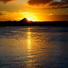 Sun setting behind Mt Coroy, Noosa River by Jaxybelle